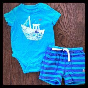 "BabyGap ""Ocean Fishing"" Bodysuit & Shorts Outfit"